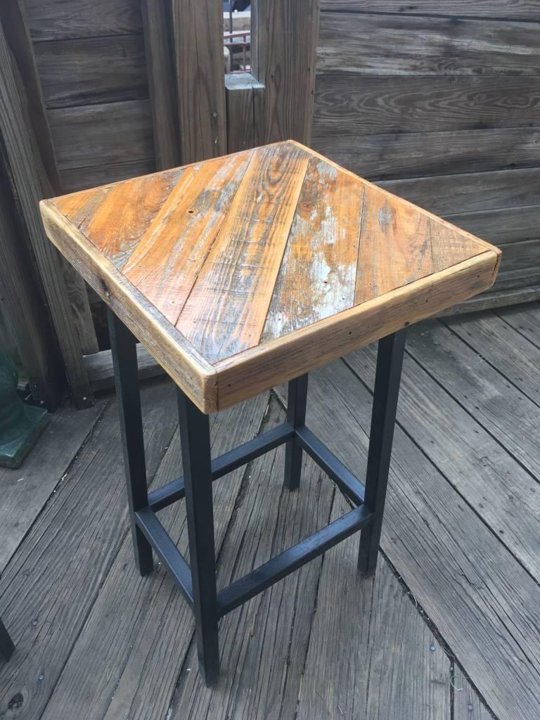 Angled Cypress Panel Stool 14x14x27