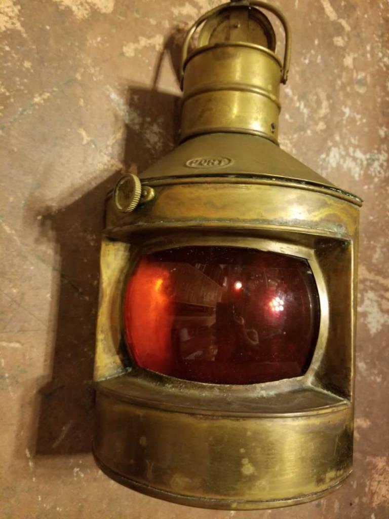 Port Nautical Vintage Red Glass Hanging Lantern