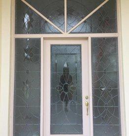 Leaded Glass Door Set Sidelights Transom