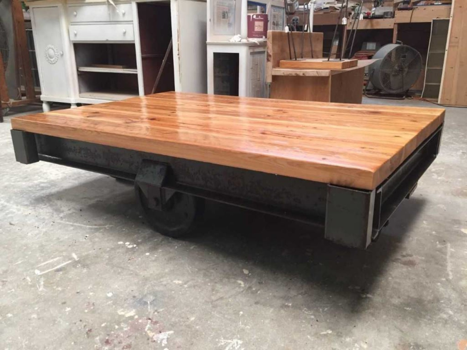 Remarkable Industrial Pecky Cypress Cart Coffee Table Creativecarmelina Interior Chair Design Creativecarmelinacom
