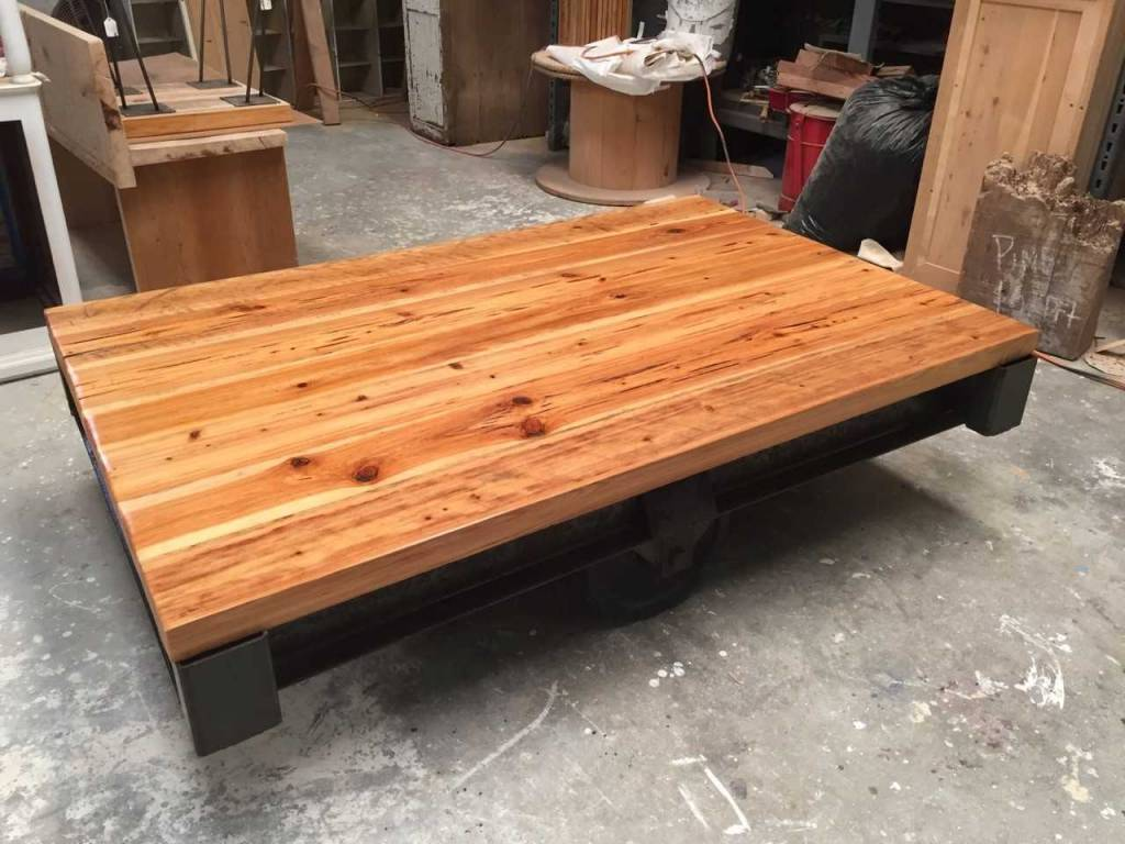 Industrial Pecky Cypress Cart Coffee Table