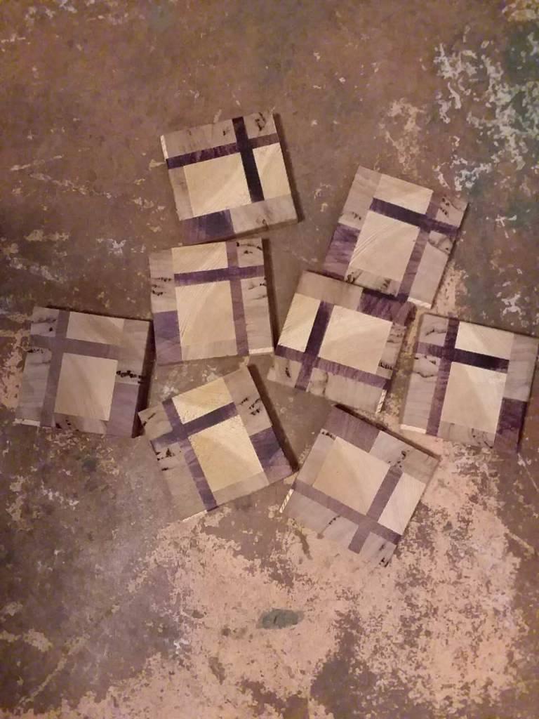 Mixed Wood Coaster Set of 4