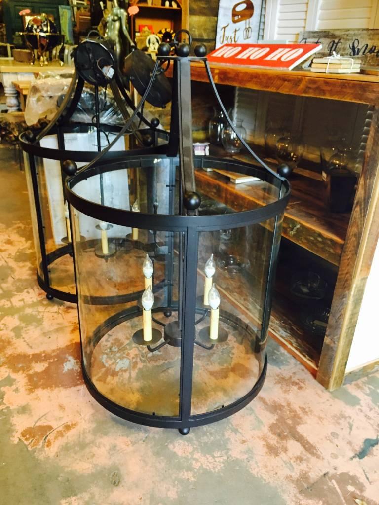 Large 4 Light Cylinder Glass Chandelier
