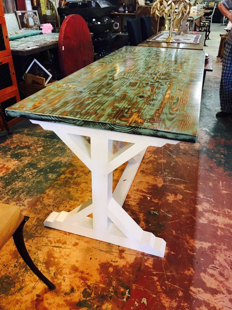 Turquoise Distressed 35x84 Trestle Base Dining Table