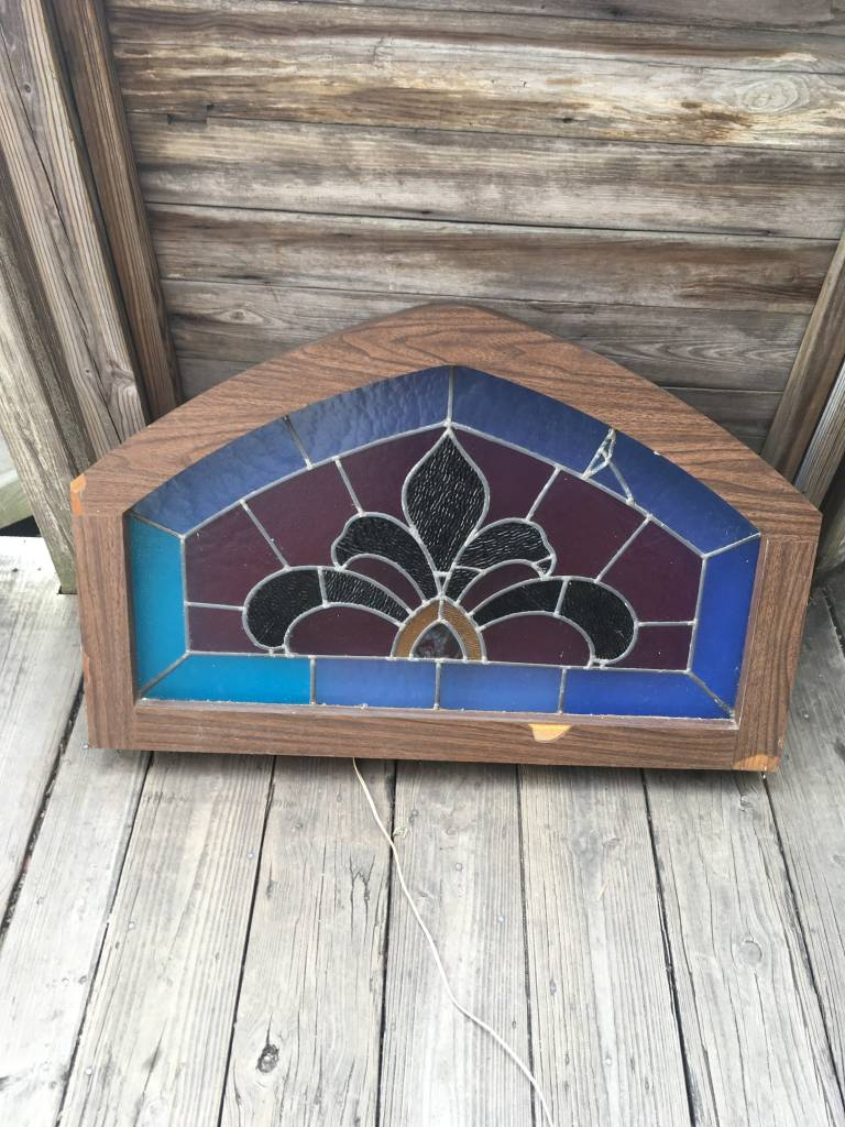39.5 x 25 Arched Framed Stained Glass