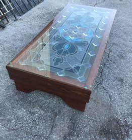 Vintage Stained Glass Coffee Table 14x32x70