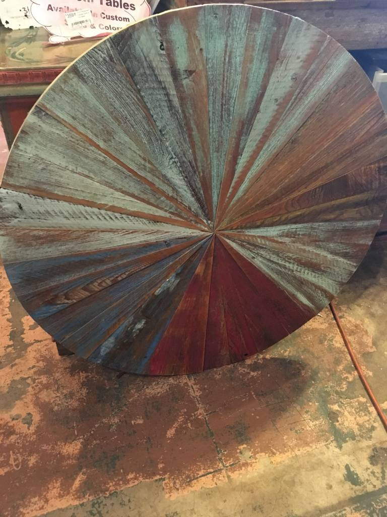 """33"""" Cypress Round Distressed Table Top"""