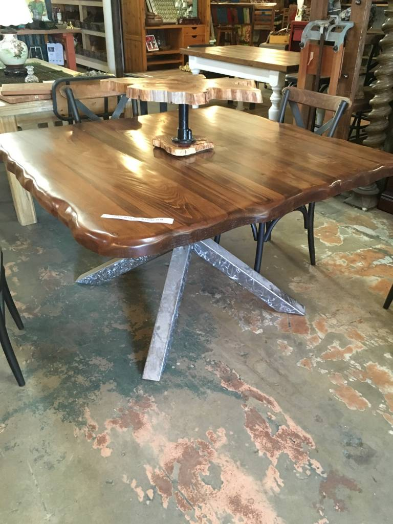 "Cypress Live Edge Welded ""X"" Trestle Base Table"