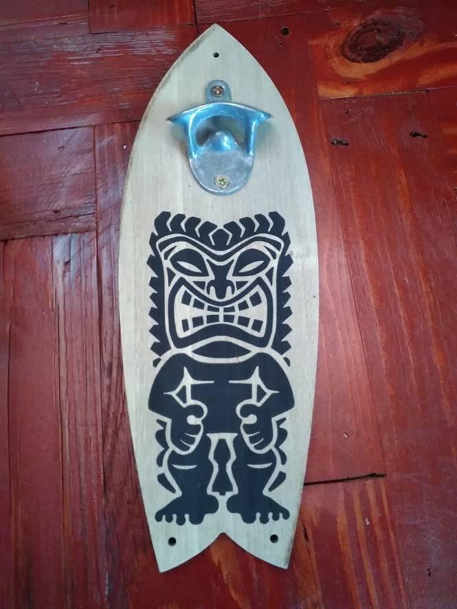 Surf Board Tikki Mask Bottle Opener