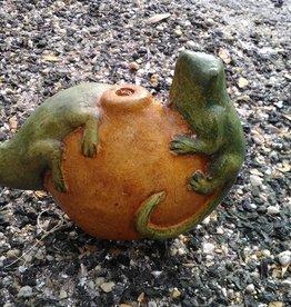 Terracotta Lizard on Fruit