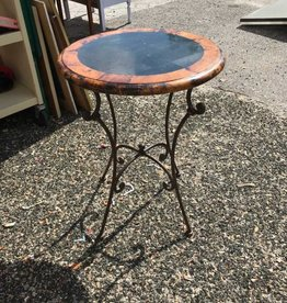 Wrought Iron Base Outdoor Side Table