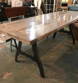 "30"" X 84"" Gray Wash Maple Table Iron Forged Legs"