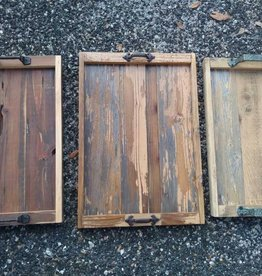 Reclaimed Wood Tray W/ Iron Handles