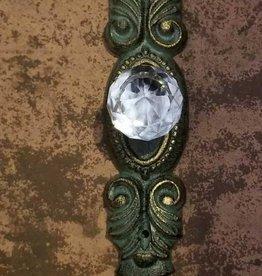 Lg Antique Bronze Crystal Knob Pull
