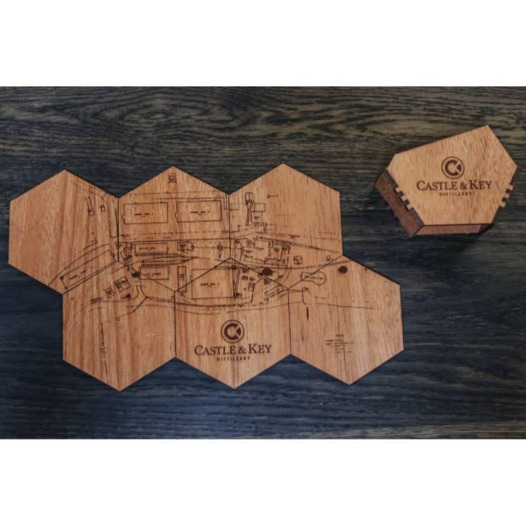 Woodchuck Mahogany Site Map Coaster Set