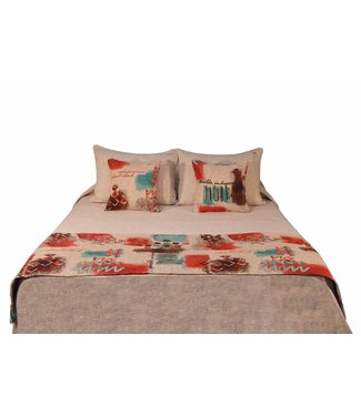 Huitru Bed Runner Indigena Red Turquoise Queen