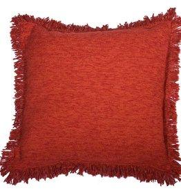 Huitru Fringed Cushion Case Plain Carmine
