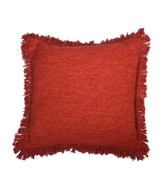 Huitru Fringed Cushion Case Plain Carmine