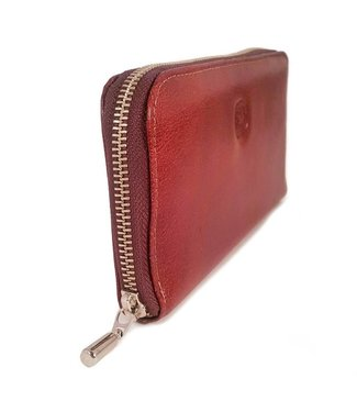 Los Robles Polo Time Zip-Around Large Cow Leather Wallet Brown