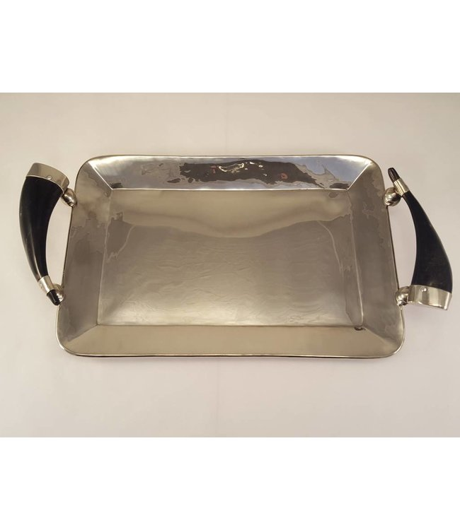 Alpaca Rectangle Tray w/ Cow Horn Handles - 15 3/4x10 1/2""