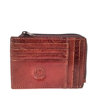 Los Robles Polo Time Cow Leather Cardholder with Zipper Close Brown