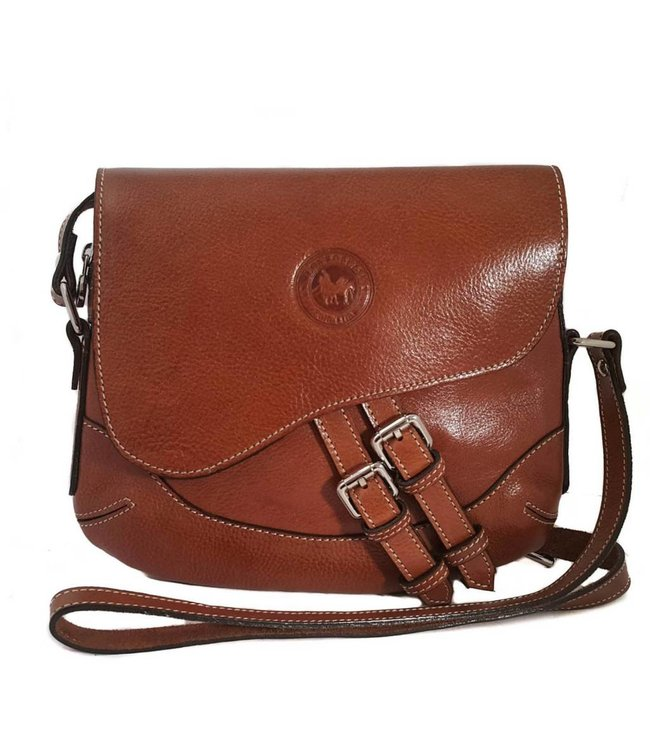 Los Robles Polo Time Cow Leather Adjustable Shoulder Strap Handbag with One Compartment