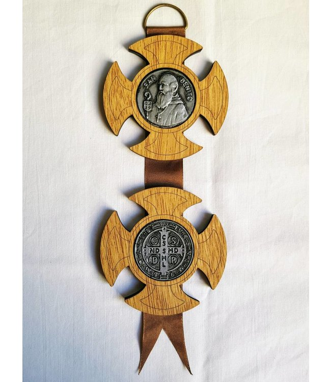 Wood Cross Shape Home Blessing of St. Benedict