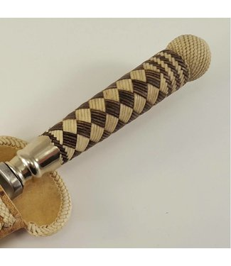 Premium Gaucho Knife - Rawhide Leather Braided Handle & Butt - Diamond Pattern
