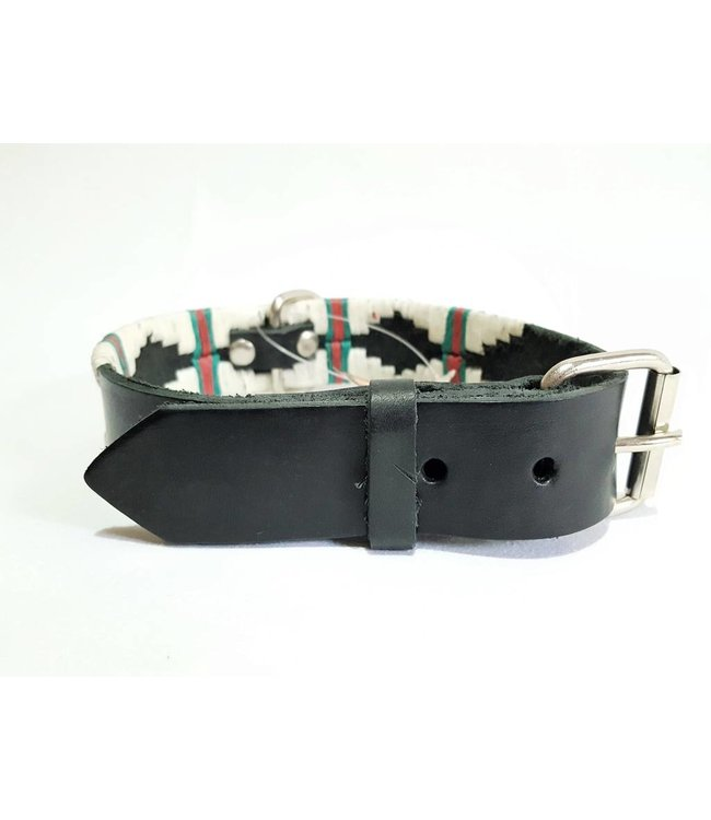 Dog Leather Embroidered Wax Thread Collar