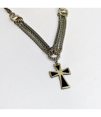 Necklace with Alpaca Cross and Reconstituted Stone