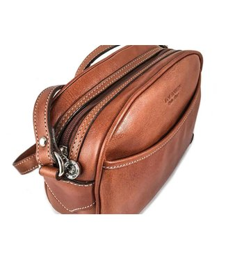 Los Robles Polo Time Leather Golf Style Handbag Cognac