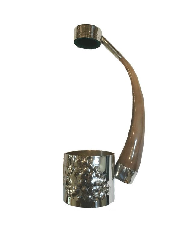 Bottle Holder in Alpaca and Goat Horn Brown
