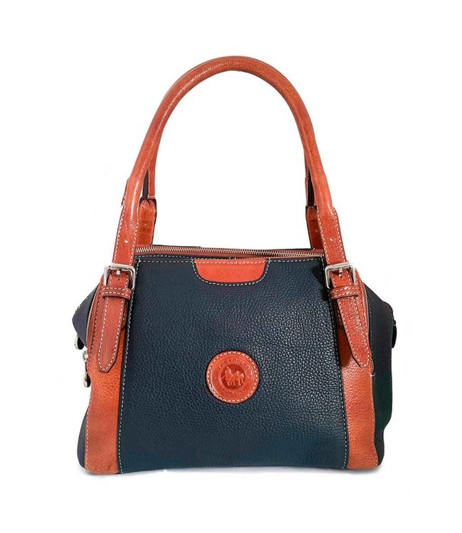 Los Robles Polo Time Leather Handbag  Three Zippers Blue/Cognac