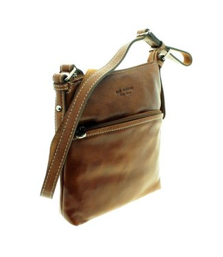 Los Robles Polo Time Cow Leather Adjustable Shoulder Strap Handbag with Two Compartment Cognac