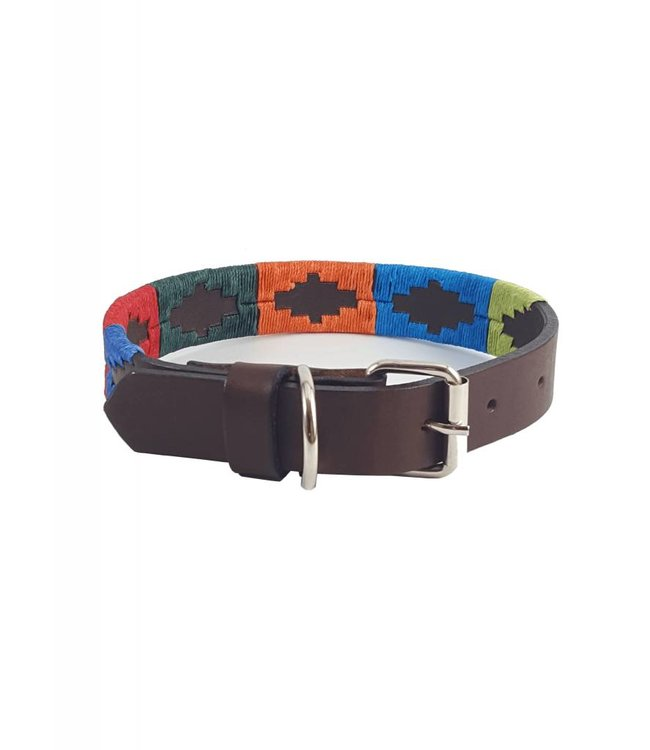 """Arco Iris"" Polo Leather Dog Collar - Width 1''"