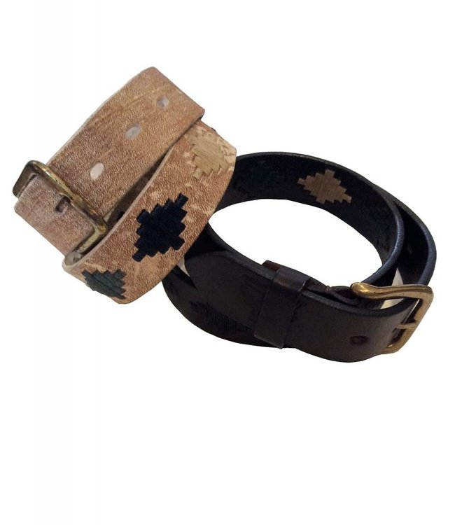 ''Alamo'' 100% Argentine Leather Embroidered Polo Belt