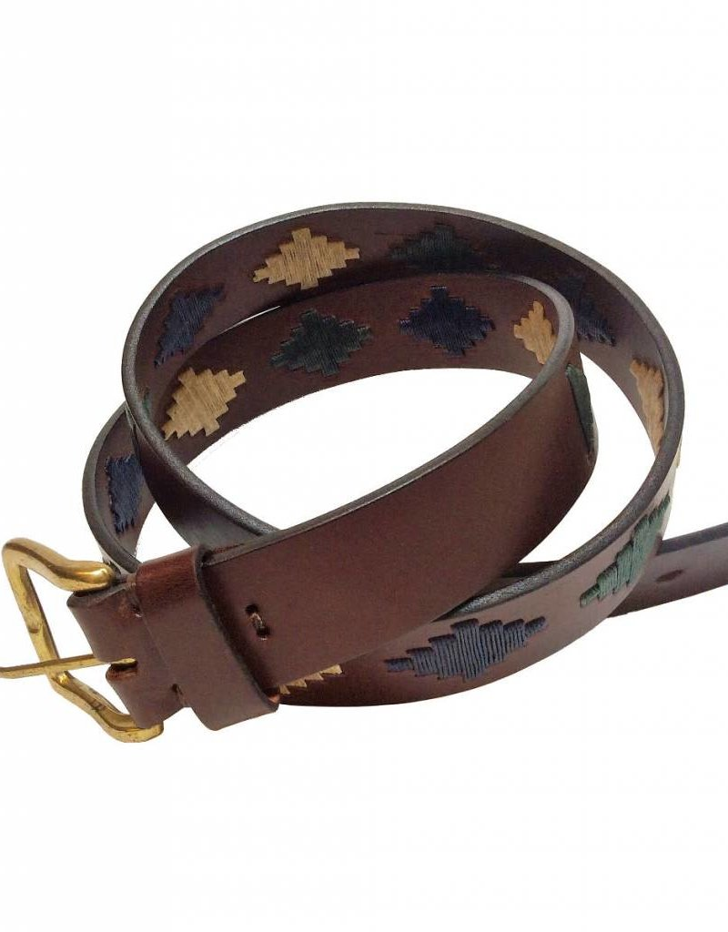''Alamo'' 100% Argentine Leather Embroidered Belt with Waxed Threads