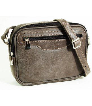 Cross body Purse in Worn Leather w/Strap - Gray