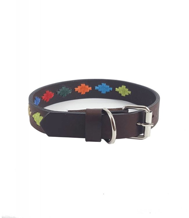 """Arco Iris"" Diamond Leather Dog Collar - Width 0.8"""