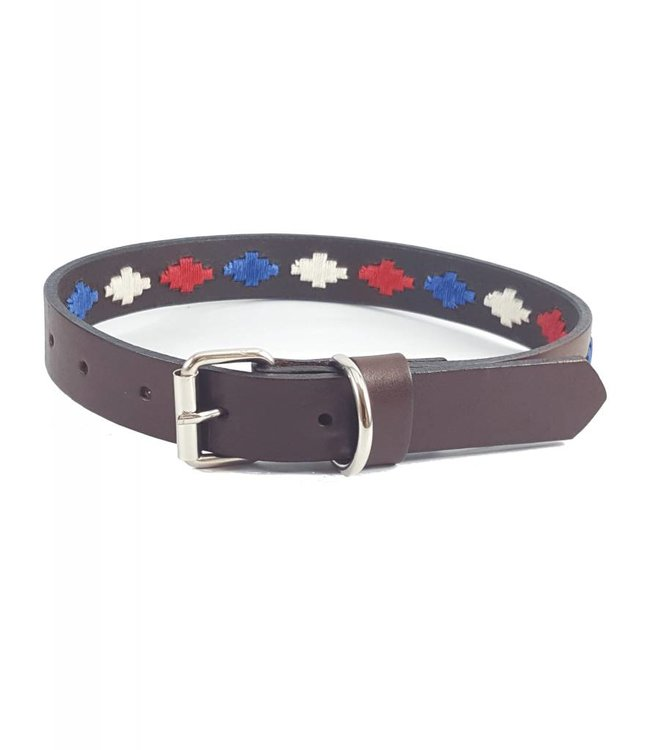 """Sam"" Diamond Leather Dog Collar - Width 0.8"""