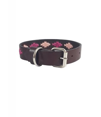 """Sophie"" Diamond Leather Dog Collar - Width 0.8"""