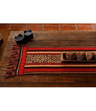Huitru Table Runner Mapuche Chocolate 63""