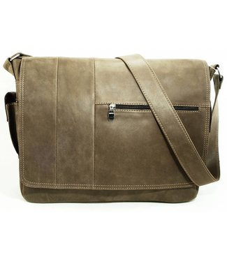 Laptop Postman Bag in Worn Leather w/Strap - Gray