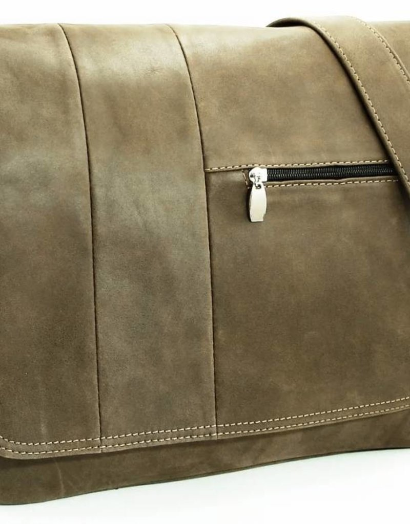 Laptop Postman Bag in Worn Leather w/Strap - Gray