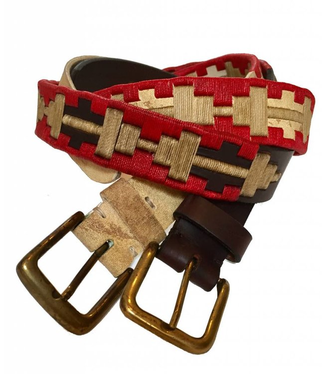''Pilar'' 100% Argentine Leather Embroidered Polo Belt
