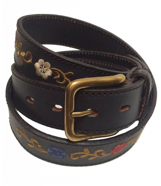 ''Las Flores'' 100% Argentine Leather Embroidered Polo Belt with Waxed Threads