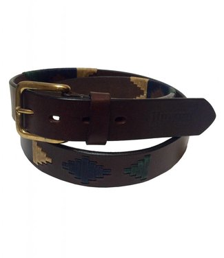 ''Madryn'' 100% Argentine Leather Embroidered Polo Belt