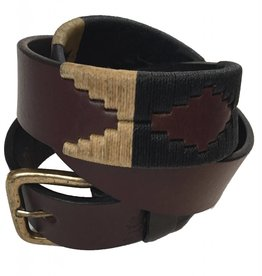 ''Pampa 2'' 100% Argentine Leather Embroidered Polo Belt with Waxed Threads Brown