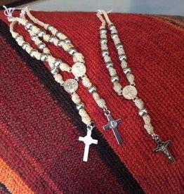 Leather Braided  Rosary Denarius