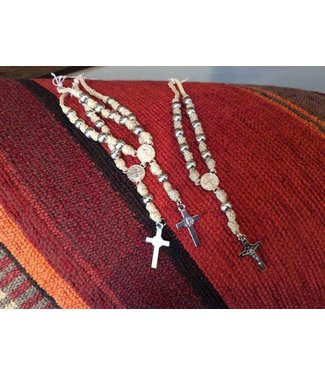 Leather Braided  Rosary Denarius